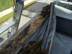 笠木天板の朽ち