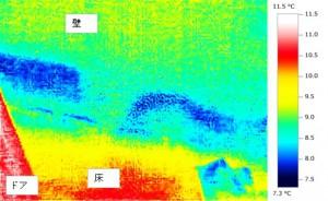 雨漏りしている壁のサーモグラフィー