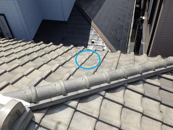 漏れている所の真上の屋根
