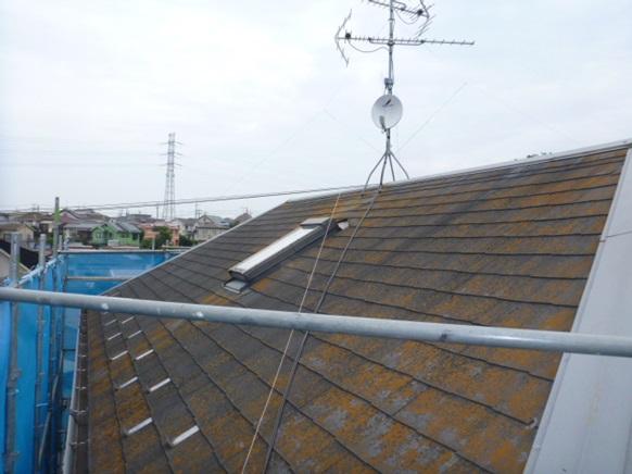 屋根高圧水洗浄前