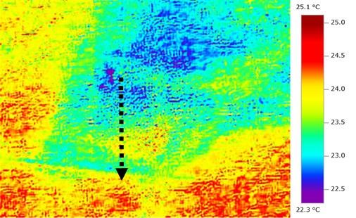 雨漏りしている天井のサーモグラフィー画像